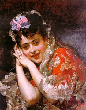 White Art - The Model Aline Masson with a White Mantilla realist lady Raimundo de Madrazo y Garreta