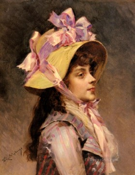 portrait - portrait Of A Lady In Pink Ribbons realist lady Raimundo de Madrazo y Garreta