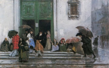 Church Art - Coming Out of Church realist lady Raimundo de Madrazo y Garreta
