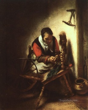 Maes Art Painting - A Woman Spinning Baroque Nicolaes Maes