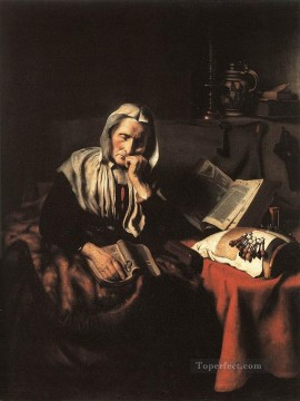 old Painting - Old Woman Dozing Baroque Nicolaes Maes