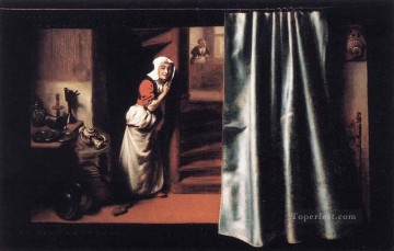 Maes Art Painting - Eavesdropper with a Scolding Woman Baroque Nicolaes Maes