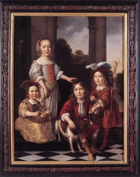 Maes Art Painting - Portrait of Four Children Baroque Nicolaes Maes