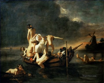 Bathing Baroque Nicolaes Maes Oil Paintings