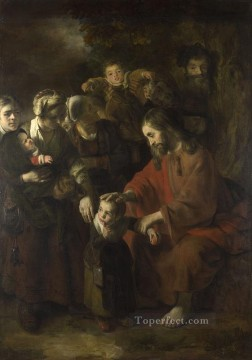 Nicolaes Maes Painting - Christ Blessing the Children Baroque Nicolaes Maes