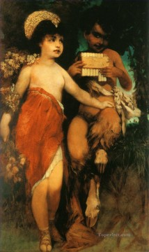 faun und nymph pan und flora Academic Hans Makart Oil Paintings