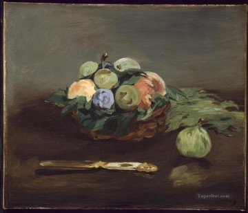Edouard Oil Painting - Basket Of Fruit still life Impressionism Edouard Manet