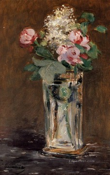 Impressionism Oil Painting - Flowers In A Crystal Vase flower Impressionism Edouard Manet