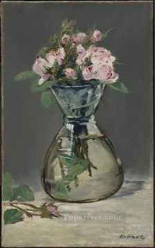 Moss Roses In A Vase flower Impressionism Edouard Manet Oil Paintings