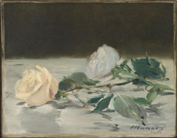 Impressionism Oil Painting - Two Roses On A Tablecloth flower Impressionism Edouard Manet