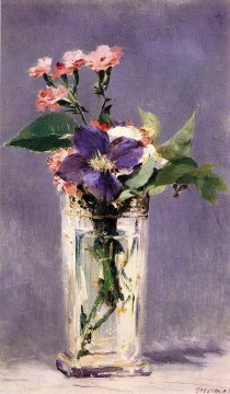Pinks and Clematis in a Crystal Vase Eduard Manet Oil Paintings