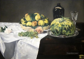 Still life with melon and peaches Eduard Manet Oil Paintings