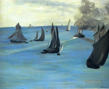 Impressionism Oil Painting - The Beach at Sainte Adresse Realism Impressionism Edouard Manet