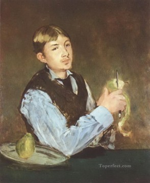 Peel Art Painting - A young man peeling a pear Eduard Manet