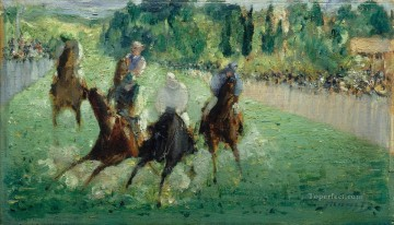 horse racing races sport Painting - At the races Eduard Manet