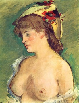 Impressionism Oil Painting - Blond Woman with Bare Breasts nude Impressionism Edouard Manet