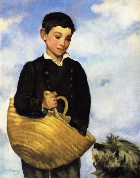 Edouard Oil Painting - Boy with Dog Realism Impressionism Edouard Manet