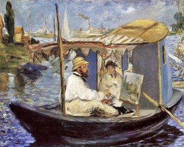 Edouard Oil Painting - Claude Monet Working on his Boat in Argenteuil Realism Impressionism Edouard Manet
