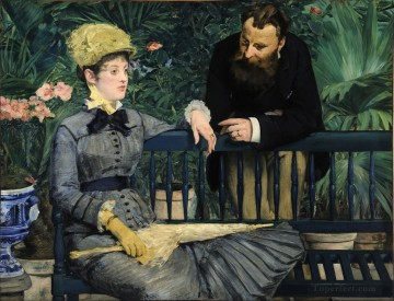 Impressionism Oil Painting - In the Conservatory Study of and Mme Jules Guillemet Realism Impressionism Edouard Manet
