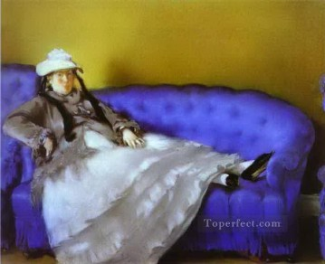 Madame Manet on a Blue Sofa Eduard Manet Oil Paintings