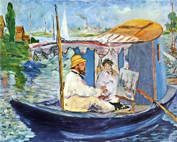 Monet in his Studio Boat 2 Eduard Manet Oil Paintings