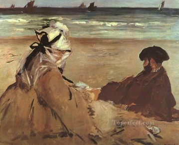 pres Painting - On The Beach Realism Impressionism Edouard Manet