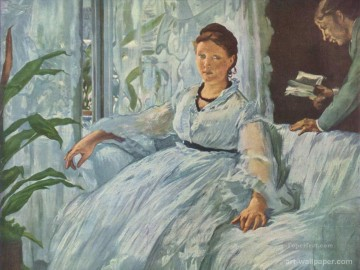 Edouard Oil Painting - Reading Mme Manet and Leon Realism Impressionism Edouard Manet