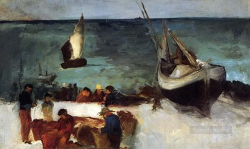 seascape mediterranean sea venice boat ship waterscape Painting - Seascape at Berck Fishing Boats and Fishermen Eduard Manet