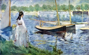 monet banks of the seine Painting - The Banks of the Seine at Argenteuil Eduard Manet