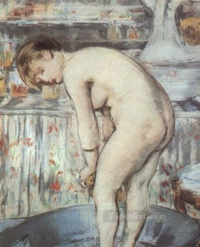 Edouard Oil Painting - Woman in a Tub nude Impressionism Edouard Manet