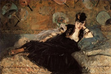 Edouard Oil Painting - Woman with a Fan Realism Impressionism Edouard Manet