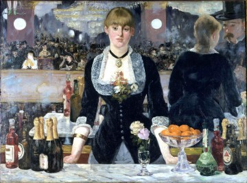 Edouard Oil Painting - A Bar at the Folies Bergere Realism Impressionism Edouard Manet