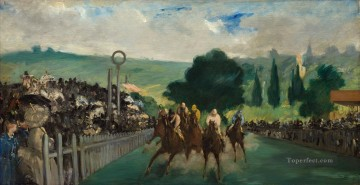 Edouard Oil Painting - Racetrack Near Paris Realism Impressionism Edouard Manet
