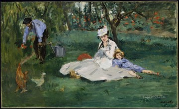 Argenteuil Canvas - The Monet family in their garden at Argenteuil Eduard Manet