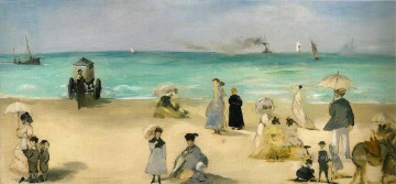beach Art - On the Beach at Boulogne Realism Impressionism Edouard Manet