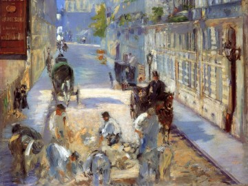 Road Oil Painting - The road menders Rue de Berne Eduard Manet