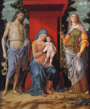 Virgin Painting - Virgin and child with the Magdalen and St John the Baptist Renaissance painter Andrea Mantegna