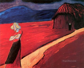 Artworks by 350 Famous Artists Painting - woman in red Marianne von Werefkin