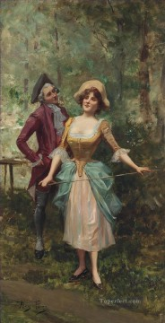 Spain Oil Painting - The courtship Spain Bourbon Dynasty Mariano Alonso Perez