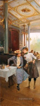 Women in a cafe Spain Bourbon Dynasty Mariano Alonso Perez Oil Paintings