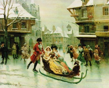 Spain Oil Painting - sleigh and the family Spain Bourbon Dynasty Mariano Alonso Perez