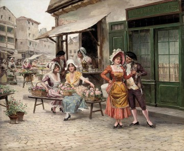 a tryst at the flower market Spain Bourbon Dynasty Mariano Alonso Perez Oil Paintings