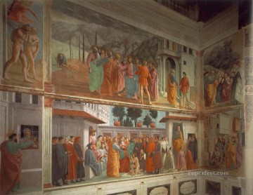 left Canvas - Frescoes in the Cappella Brancacci left view Christian Quattrocento Renaissance Masaccio