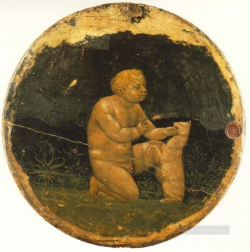 Christian Oil Painting - Putto and a Small Dog back side of the Berlin Tondo Christian Quattrocento Renaissance Masaccio