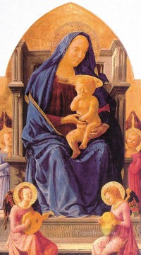Christian Oil Painting - Madonna with Child and Angels Christian Quattrocento Renaissance Masaccio