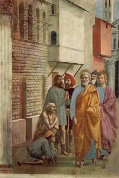 Peter Oil Painting - St Peter Healing the Sick with His Shadow Christian Quattrocento Renaissance Masaccio