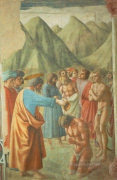 Christian Oil Painting - The Baptism of the Neophytes Christian Quattrocento Renaissance Masaccio