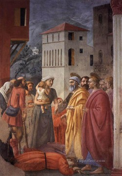 Christian Oil Painting - The Distribution of Alms and the Death of Ananias Christian Quattrocento Renaissance Masaccio