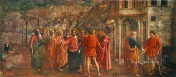 Christian Oil Painting - Tribute Money Christian Quattrocento Renaissance Masaccio