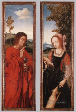 st john the baptist Painting - John the Baptist and St Agnes Quentin Matsys
